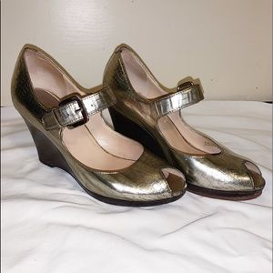 Cole Haan Metallic Open Toe Wedges